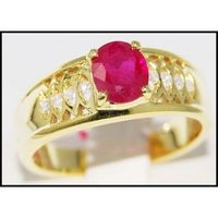 Unique Solitaire Diamond Ruby Ring 14K Yellow Gold [RR022]