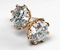 Moissanite Stud Earrings Studs Classic Art Nouveau Earrings Stud Earrings Studs 14K or 18K Rose gold 8 prongs Earrings Gift $973.00
