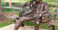 """Departure"" by George Lundeen; installed in the park near the library in Loveland, CO. It looks like this is a photo taken by Shenandoah Aughinbaugh . http://www.colo-news.com/art of loveland/artwork.asp?aw=112 http://www.lundeensculpture.com/"