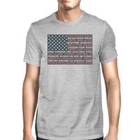50 States US Flag American Flag Shirt Mens Gray Cotton Graphic Tee £12.00