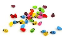Pack of 50 Wooden 3D Flat Back Assorted Colours Ladybirds. 12mm x 15mm Flatback Ladybugs. For Easter, Scrapbooking, Cardmaking & Decorating £4.29