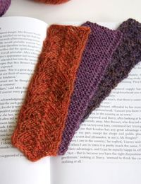 Three simple bookmarks in fingering weight yarn. These ones are done in Knit Picks Palette yarn, which is easy to work, inexpensive, and offers 100 different color choices. But you can try any fine yarn. If you have the patience for really fine work, they...