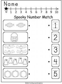 Halloween Number Match freebie that can be used anytime in October for PreK or Kindergarten. This page is from my October Math And ELA Unit For Kindergarten (Co