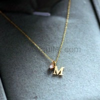 Gullei.com Letter M Name Initial Necklace 18K Gold Plated