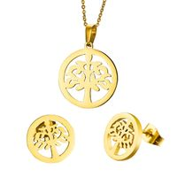 Hollow Little Tree Round Necklaces And Earrings Sets, Jewelry Sets,316 Stainless Steel R227.20