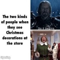 christmas decorations, christmas music and elves.