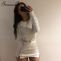 Simenual Casual Fashion Reflective Striped Two Piece Outfits Women Long Sleeve Top And Mini Skirt Sets 2019 Autumn White Set New $27.88