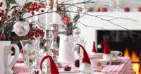 Christmas Table Decorations: Love the little hats on the ornaments...