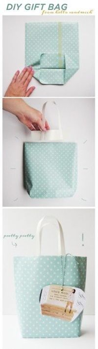 DIY: Gift Bag ~ you'd need some strong or more fabric-y paper so that it wouldn't crease and crumple when you turn it inside out...