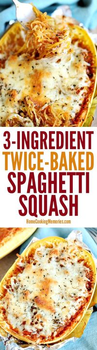 This easy Twice-Baked Spaghetti Squash recipe is a simple dinner idea that only needs 3-ingredients, is meatless, gluten-free, and frugal. I love spaghetti squa