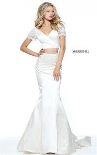 Cheap Two-Piece Ivory Sherri Hill 51119 V-neck Long Mermaid Dress 2017