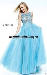 Colorful Fashion Sherri Hill 11022 Open-Back Light Blue High-Neck Long Evening Gowns