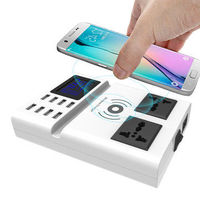 Bakeey Qi Wireless Charger Pad 8 Ports USB Smart Charger with Led Display EU Plug Power Charger