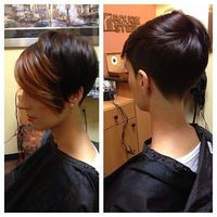 Forgot to post my wife's new color/cut! #hair #haircut #hairstyle #hairstylist #shorthair #shorthaircut #shorthairphotos #shorthairstyles #nothingbutpixies #nape #redken #thisismyart -
