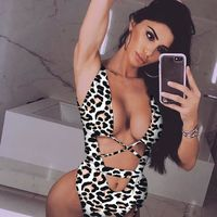 2019 Sexy leopard Print one piece swimsuit Bandage sexy bikini Push up swimwear women string monokini High cut bathing suit $29.37