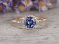 Natural blue tanzanite Engagement Ring with diamond 7mm Round Cut Gem wedding ring 14K Yellow Gold promise ring stacking matching ring Halo