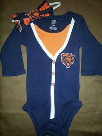 Chicago Bears Baby Cardigan Onesie Girl or Boy by CoutureCardigans, $29.99 SO CUTE! MUST HAVE!