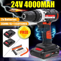 15 Gear 24V Cordless Power Drills Electric Drill Driver 2 Speed Power Driver Power Tools With 2 Batteries