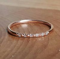14K Pink Gold Pave Diamond Ring 14K Stacking Rings 14K Rose Gold Band Woman's Ring Gifts for Her Thin Diamond Wedding Band Engagement Ring