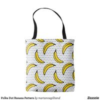 Polka Dot Banana Pattern Tote Bag