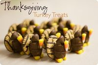 ThanksgivingTurkey Treats-Striped cookies Peanut butter cups (miniature,) Hershey's kisses, Candy corns, Wilton's candy melts 12 oz bag (In the cake decorating section t...