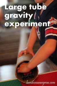 A gravity experiment with a carpet tube (any tube could be used!)
