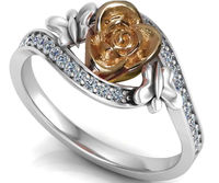 Flower Ring Two Tone Yellow & White Promise Ring Unique Engagement Ring with Side Diamonds Floral ring Birthday Gift For Her Gift $915.00