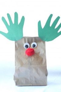 This simple reindeer craft can serve two purposes: Turn the brown bag upside down and make puppets or fill it with goodies to make a cute bag! Here's what
