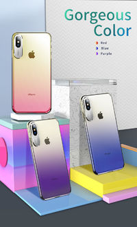 Rock Slim Gradient Protective Case For iPhone XS Camera Lens Protective Back Cover