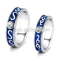 Gullei.com Modern Fashion Couples Rings Set for 2 with Engraving