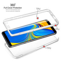 Full Body Clear Touch Screen Protective Case + 2.5D Tempered Glass Screen Protector For Samsung Galaxy A7 2018