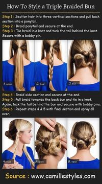 Triple Braided Bun Tutorial