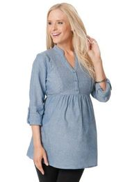 Motherhood Maternity Women's Convertible Sleeve Button Maternity Tunic Top $24.99