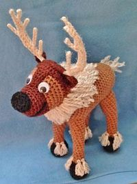 "Reindeer based on Sven, from Disney's �€œFrozen.�€ - Free Amigurumi Pattern - PDF File click "" Download"" or ""free Ravelry download"" here: http://www.ravelry.com/patterns/library/crocheted-reindeer-based-on-frozens-sv..."