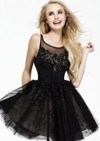 2014 Black Short Lace and Tulle Scoop Neck 2015 Homecoming Dress