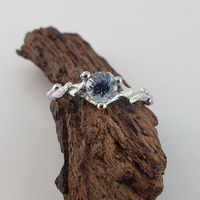 Teal Montana Sapphire Twig Engagement Ring in 14k White Gold, Solitaire Ring $1295.00