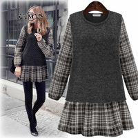 MELANASY 2018 Fall Winter Women's New Dress Round Neck Fake Two Piece Ruffles Dress Long-sleeved Plaid Stitching Mini Dresses $30.01