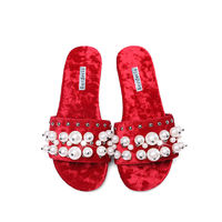 BERDECIA Fur Slippers Fashion Women Shoes Faux Fur Slides Women Pearl Flats Beach Shoes Peep Toe Casual Ladies Shoes Women Slip $138.99
