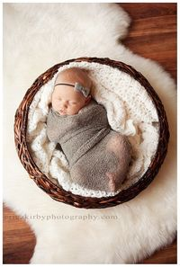 Newborn Stretch Knit Baby Wrap with Matching Felt headband, so precious.