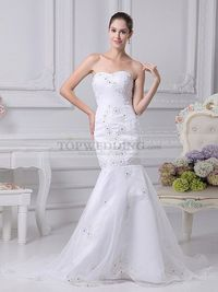 MERMAID ORGANZA OVER SATIN WEDDING GOWN WITH EMBROIDERED FLOWER PATTERN