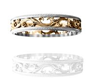 2 Tone Gold Leaves Band Filigree Band Edwardian Ring Ornament Vintage style $730.00
