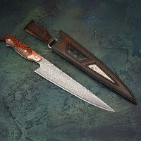 Hand Forged Chef Knife Slicing Carving Kitchen Knives Full Tang Handcrafted Leather Scabbard $318.00