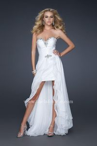 La Femme 17377 Removable Strapless White High and Low Homecoming Dresses