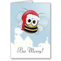 Bee merry bumble bee Christmas greeting card