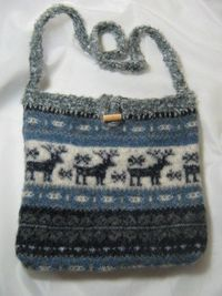 BNS upcycled felted sweater purse with reindeer