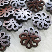 CLEARANCE Pack of 50 Round Brown Wood Sunflower Floral Buttons. 20mm Closures. Wooden Fasteners £7.19