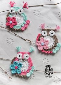 cute crocheted owls #decor #home If you see an idea anywhere chances are we can make it, or we know someone who can! Just visit us on our facebook page or call us 765-744-1080 (10:00am to 6:00pm EST) Find out more about me at: https://www.facebook...