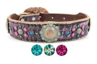 Purple Leather Dog Collar with Swarovski Crystal bling | Western Dog Collar for Small to Large Dog Breeds | Hermann Oak Leather $165.00