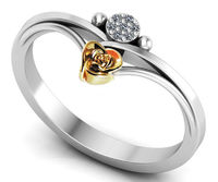 Girls Ring in 18K Two Tone Yellow & White Contour shank with Yellow Flower $499.00