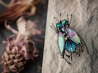 Housefly Brooch, Stain Glass, vintage brooch, scarab brooch, Stain Glass Brooch, Animal broche, Insect Brooch tribal jewelry, boho pin $70.00